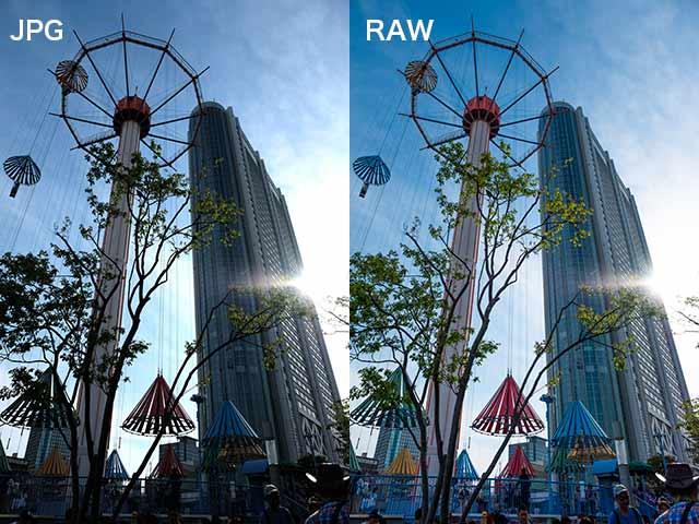 jpgとrawファイルの比較